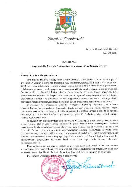 El documento del obispo certificando el milagro
